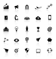 Startup business icons with reflect on white vector image