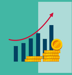 statistics bar graph growth arrow stack coins vector image