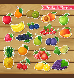 Stickers with fruits and berries vector