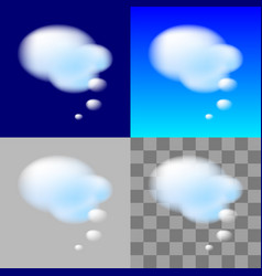 thinking bubbles white cloud transparent element vector image