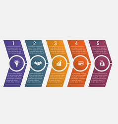 timeline arrows five positions vector image