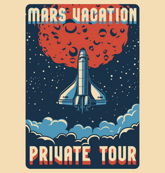 Travel to mars colorful poster vector