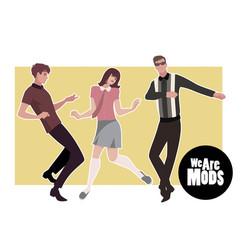 We are mods young guys and girl wearing retro vector