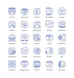 web hosting icons pack vector image