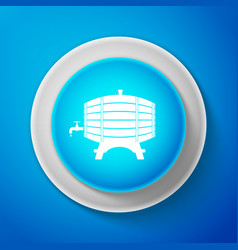 white wooden barrel on rack with stopcock icon vector image