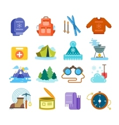 Winter hiking flat icons set vector image