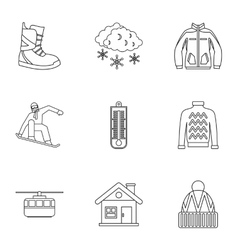 Winter holidays icons set outline style vector