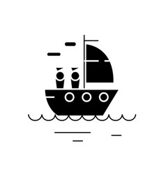 yacht sailing black concept icon yacht vector image