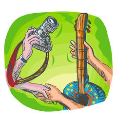 dslr camera guitar music exchange vector image vector image