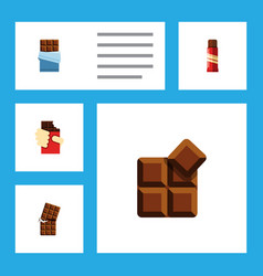 Flat icon cacao set of sweet wrapper bitter and vector