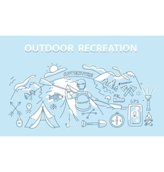 Line style design concept of outdoor recreation vector