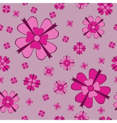 Pink flowers with bows seamless pattern vector image vector image