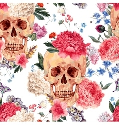 seamless pattern with skull and flowers vector image vector image