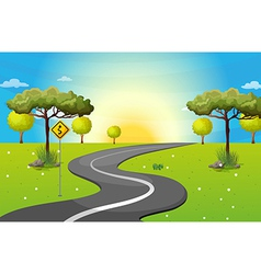 A long and winding road at the forest vector image vector image
