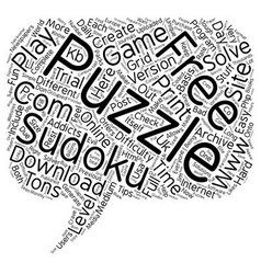 free sudoku puzzle text background wordcloud vector image vector image