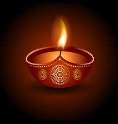 graphic of burning diya of diwali celebration vector image