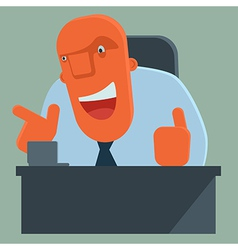Happy boss pointing and giving thumbs up vector image vector image