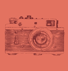 Hipster photo camera engraved retro style vector