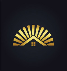 house shine icon gold logo vector image