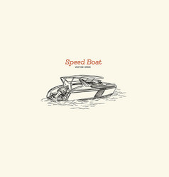 speed boat hand draw vector image vector image
