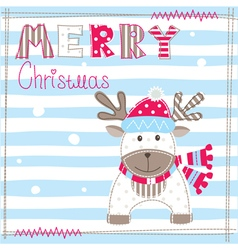 Christmas greeting card with cute dear vector image