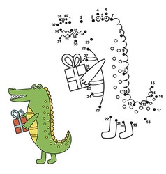Connect the dots to draw the cute alligator and co vector image