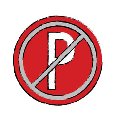 drawing prohibited parking car sign traffic vector image