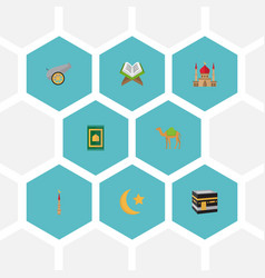 flat icons minaret dromedary new lunar and other vector image vector image
