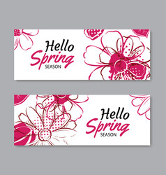 hello spring season banner template background vector image