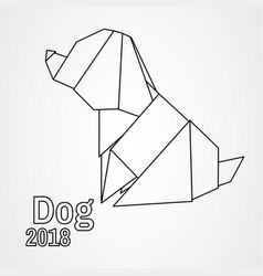 origami dog vector image vector image