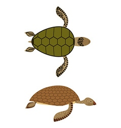 set Water turtle Side view and top view Deep-sea vector image vector image