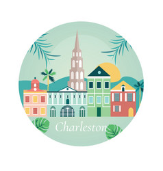 welcome to charlestone poster with landmarks vector image vector image