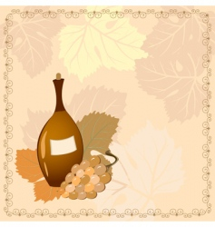 bottle of wine with grapes vector image vector image