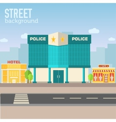 police building in city space with road vector image