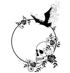 skull raven and roses frame vector image vector image