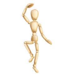 wooden man dancing vector image