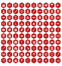 100 calculator icons hexagon red vector