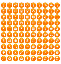 100 smuggling goods icons set orange vector
