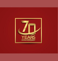 70 years anniversary with square and swoosh vector