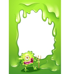 A green border design with a green death monster vector image