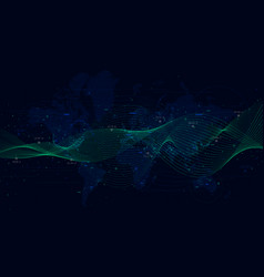 abstract background with dynamic waves big data vector image