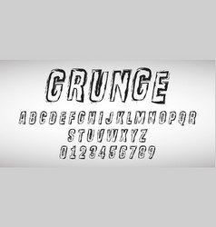 alphabet letters and numbers grunge design vector image