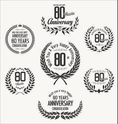 anniversary laurel wreath 80 years vector image