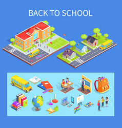 Back to school collection of on blue vector