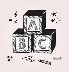 Black abstract kids abc stacked toy cubes vector