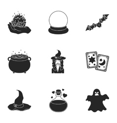Black and white magic set icons in black style vector image vector image
