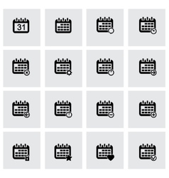 black calendar icons set vector image