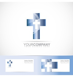 Blue cross 3d metal logo vector