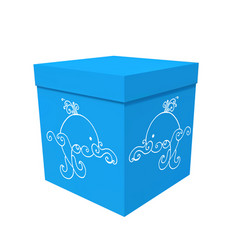 Box decorated with blue sea drawing with whale vector