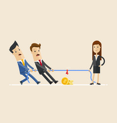 Businesswoman in tug of war with a two male vector